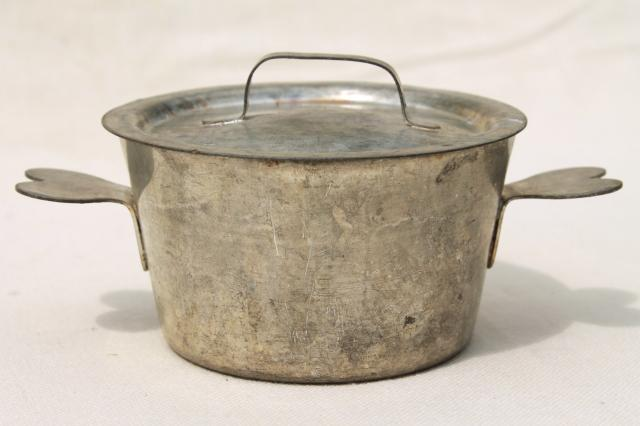 Vintage French Tin Pot W Heart Shaped Handles Beautiful