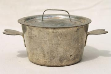 vintage French tin pot w/ heart shaped handles, beautiful old zinc color tinning
