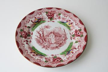 vintage French transferware plate, country cottage w/ flowers, Portieux Vallerysthal