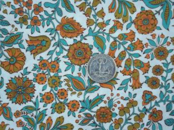 vintage Fruit of the Loom print cotton fabric, orange and green floral