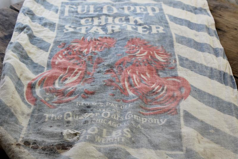 vintage Ful-O-Pep chick starter feed sack bag, old cotton feedsack w/ rooster