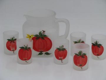 vintage Gay Fad frosted glass tomato juice set, hand-painted glasses and pitcher