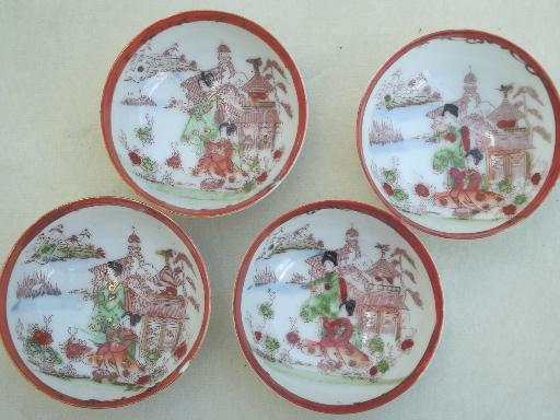 vintage Geisha girl china condiment bowls & tray, hand-painted Made in Japan