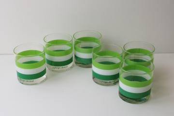 vintage Georges Briard Cabana green stripes old fashioned tumblers, lowballs drinking glasses
