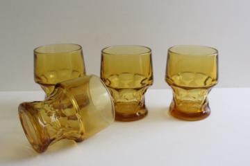vintage Georgian pattern glass drinking glasses, amber glass tumblers