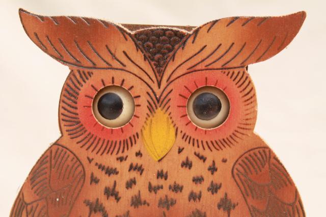 Vintage German Black Forest Owl Animated Clock Moving Eyes