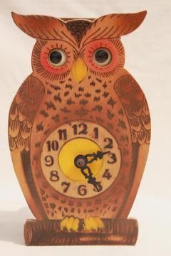 vintage German black forest owl animated clock moving eyes cuckoo clock