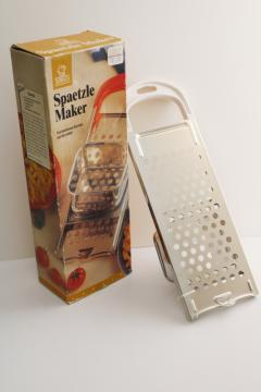 vintage German dumplings spaetzle maker w/ recipe, stainless steel kitchen tool in box