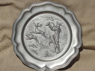 vintage German pewter plate w/ hunter, stag deer wild boar hunting scene