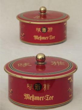 vintage German tea tins, round metal tea boxes in chinese red & gold