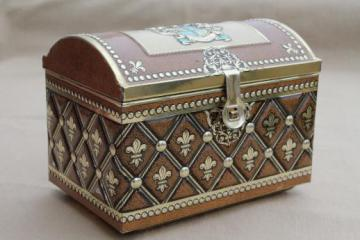vintage German tin box treasure chest candy container marked Western Germany