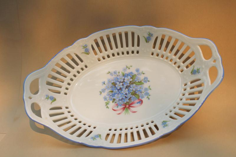 vintage Germany china oval bowl w/ forget-me-nots, reticulated border