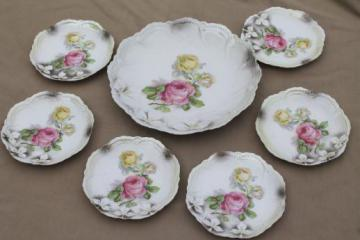 vintage Germany luster porcelain cake plates,& antique china dessert set w/ roses