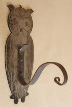 vintage Germany metal owl wall hook or plant hanger, boho bohemian decor