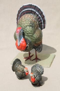 vintage Germany papier mache or composition holiday turkeys, Thanksgiving turkey & little ones