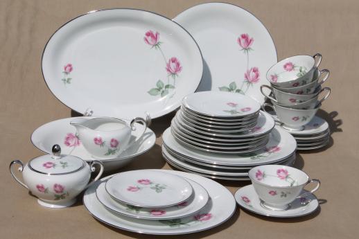 Vintage Germany Pink Rose Porcelain Dinnerware Set For 6