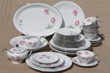 vintage Germany pink rose porcelain dinnerware set for 6, Danton china Lancaster pattern