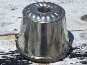 vintage Germany tinned pudding mold w/ cover, for steamed plum puddings