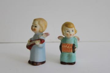 vintage Germany tiny china figurines, Hummel style angels accordion & mandolin