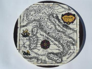 vintage Gien-France pottery plate w/ antique hand-painted map of Italy
