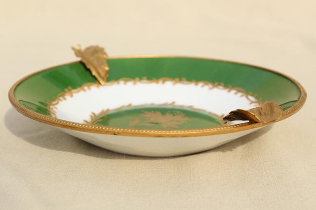 Vintage Giraud Limoges Porcelain Ashtray Gold Metal