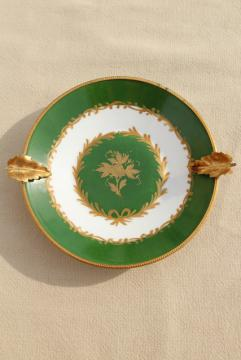 vintage Giraud Limoges porcelain ashtray, gold metal ormolu trimmed dish