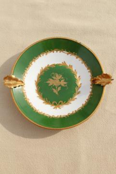 vintage Giraud Limoges porcelain ashtray, gold metal ormolu trimmed dish