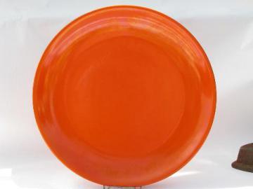 vintage Gladding-McBean Franciscan California pottery chop or cake plate, retro orange