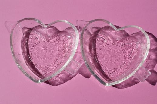 vintage Glasbake Safe-Bake heart shaped glass baking pans / food molds, two hearts