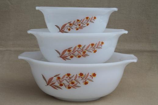 vintage Glasbake autumn leaf milk glass nesting bowls set, Hall ...