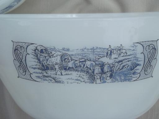 vintage Glasbake kitchen glass nest of mixing bowls, Currier & Ives ...