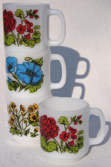 vintage Glasbake milk glass coffee mugs, Language of Flowers geraniums, morning glories, buttercups