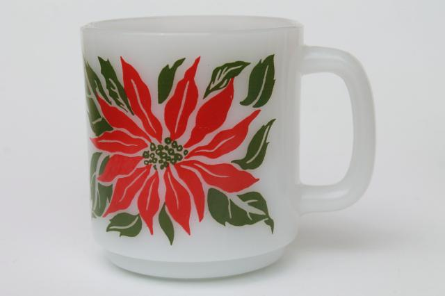 vintage Glasbake milk glass mugs, holiday Christmas poinsettias red & green