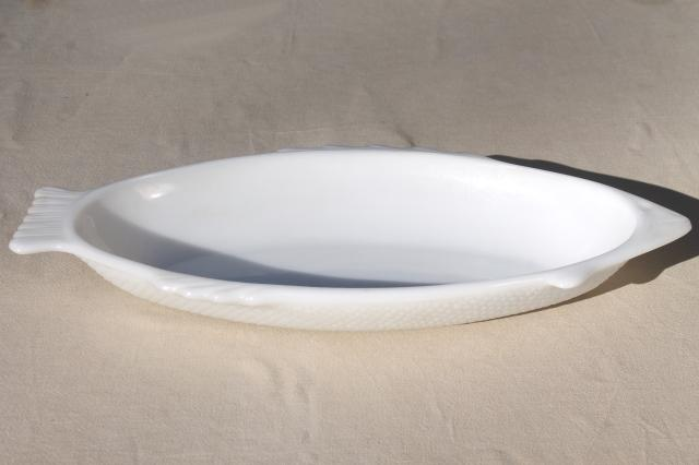 vintage Glasbake milk glass white fish dish, large platter serving plate tray