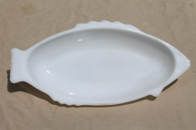 Vintage Glasbake Milk Glass White Fish Dish Large Platter