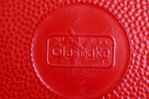 vintage Glasbake oven proof primary red milk glass divided casserole dish