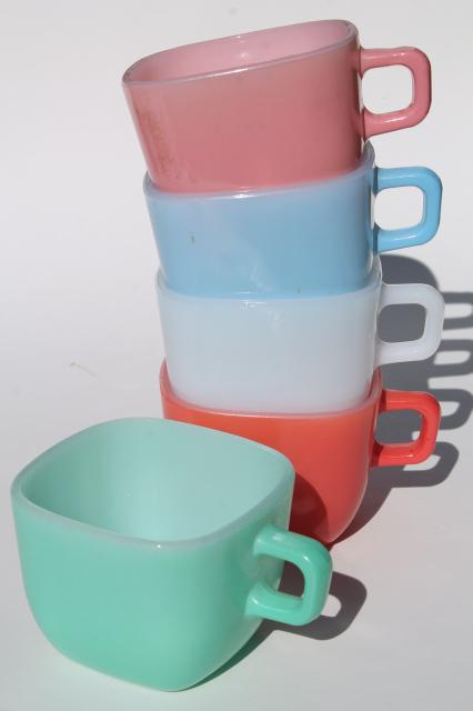 vintage Glasbake square mugs, Lipton's soup cups retro colors milk glass