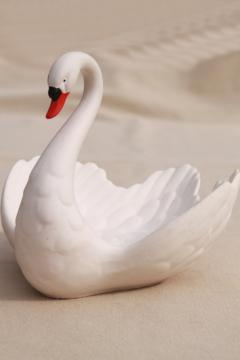 vintage Goebel - West Germany bisque china swan, large figurine or trinket dish