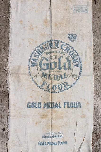 Vintage Gold Medal Flour Sack Old Cotton Feedsack Fabric