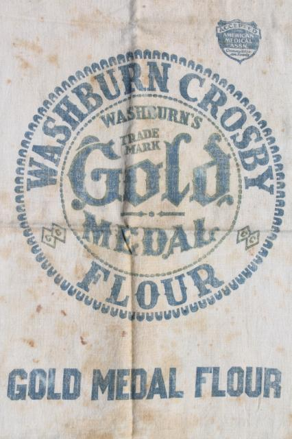 Vintage Gold Medal Flour Sack Old Cotton Feedsack Fabric