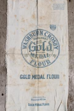 vintage Gold Medal flour sack, old cotton feedsack fabric w/ print advertising