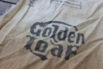 vintage Golden Loaf flour sack, primitive coffee tea stain dip dye grubby cotton fabric