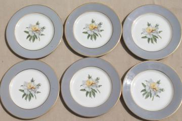vintage Golden Peony Princess china plates, dessert or bread & butter plate set