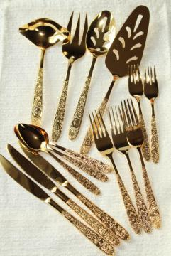 vintage Golden Ware gold electroplate flatware, never used Stanley Roberts all over flowers