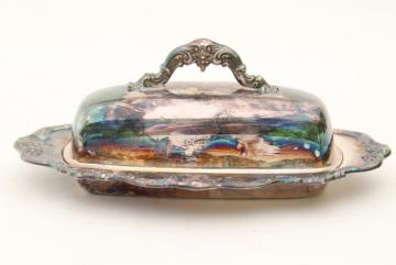 vintage Gorham Chantilly silver plate, covered butter dish w/ glass liner