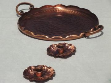 vintage Gregorian copper, flower candle holders & tooled copper tray