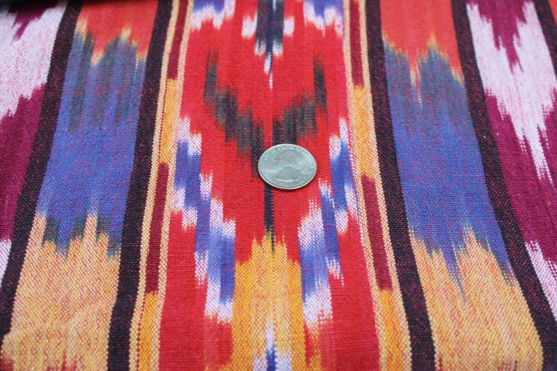 vintage Guatemala woven cotton ikat fabric, red, orange, pink, indigo