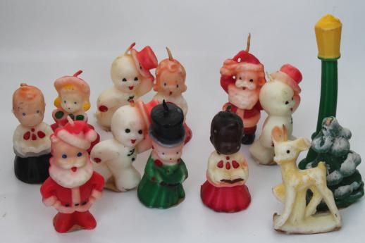 vintage Gurley Christmas candles, figural holiday candle lot ...