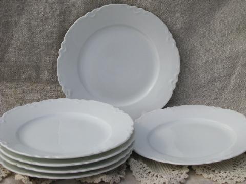 Unique vintage Habsburg porcelain plates, pure white ornate scalloped border XI32