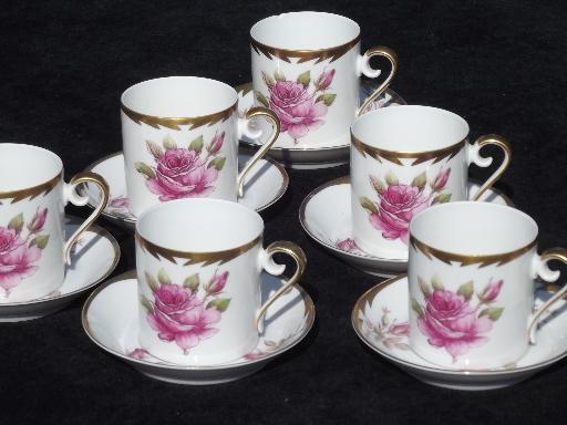 Vintage Hackefors Sweden Espresso Set Pink Rose Demitasse